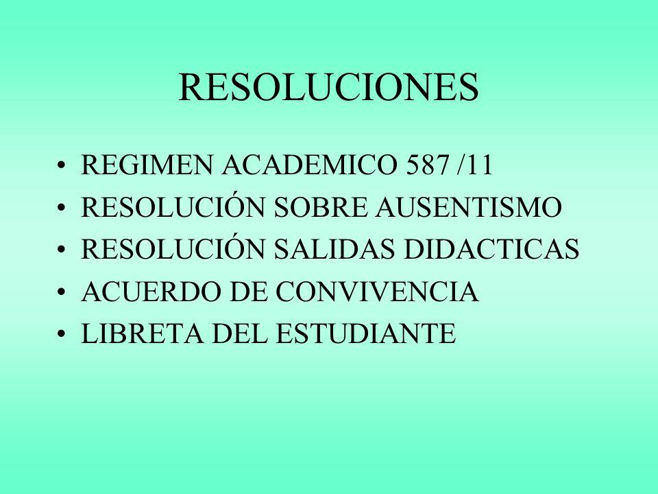 RESOLUCIONES REGIMEN ACADEMICO 587 /11 RESOLUCIÓN SOBRE AUSENTISMO RESOLUCIÓN SALIDAS DIDACTICAS ACUERDO DE CONVIVENCIA LIBRETA DEL ESTUDIANTE