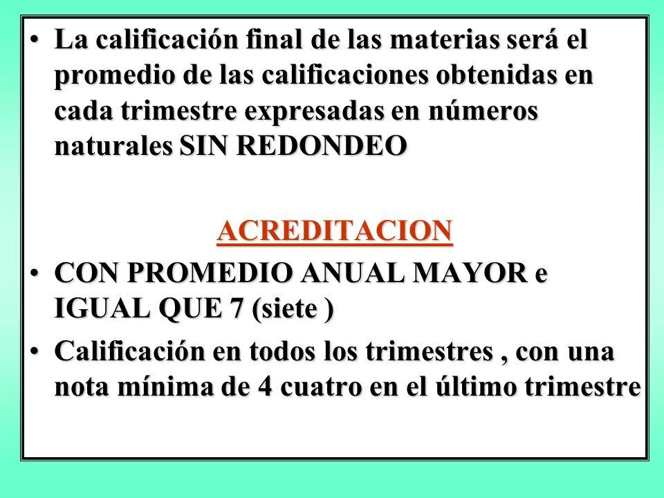La calificación final de las materias será el promedio de las calificaciones obtenidas en cada trimestre expresadas en números naturales SIN REDONDEOLa calificación final de las materias será el promedio de las calificaciones obtenidas en cada trimestre expresadas en números naturales SIN REDONDEO ACREDITACION CON PROMEDIO ANUAL MAYOR e IGUAL QUE 7 (siete )CON PROMEDIO ANUAL MAYOR e IGUAL QUE 7 (siete ) Calificación en todos los trimestres, con una nota mínima de 4 cuatro en el último trimestreCalificación en todos los trimestres, con una nota mínima de 4 cuatro en el último trimestre