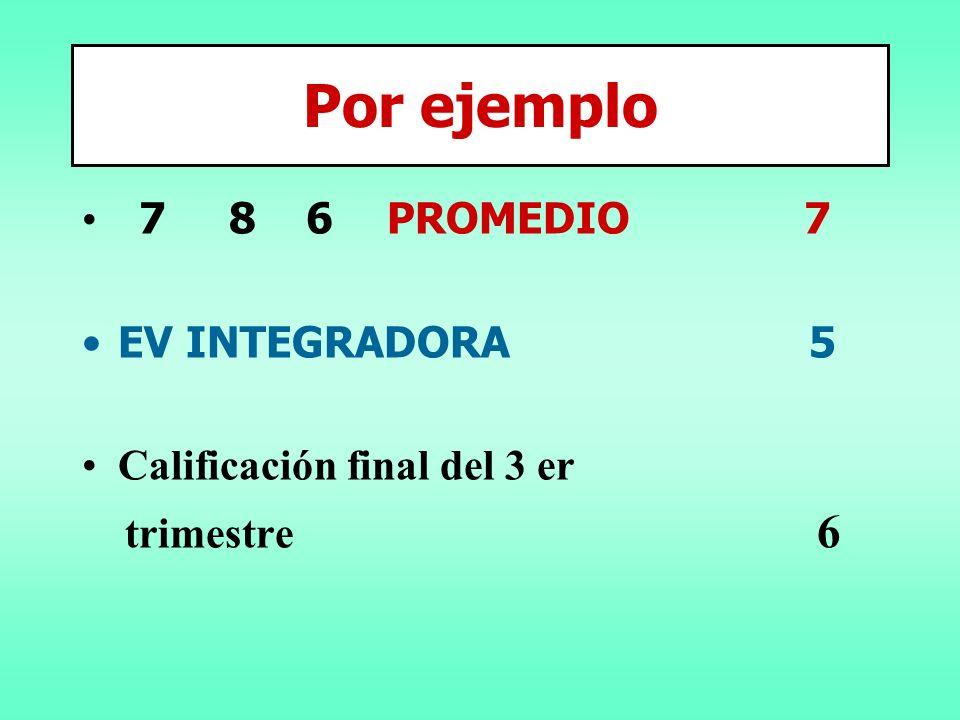 7 8 6 PROMEDIO 7 EV INTEGRADORA 5 Calificación final del 3 er trimestre 6 Por ejemplo