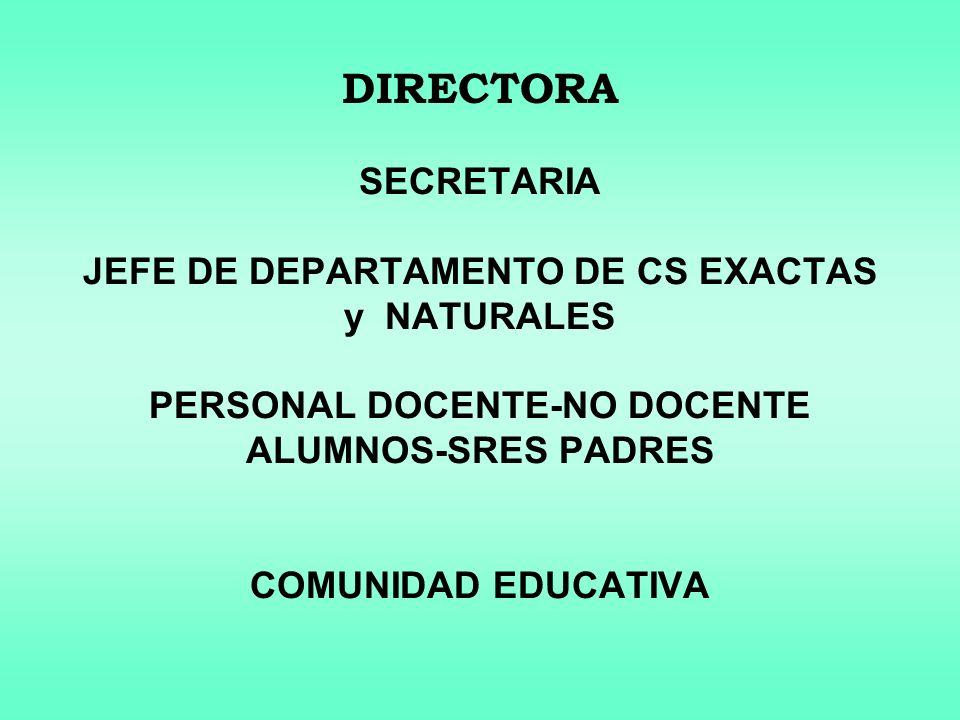 DIRECTORA SECRETARIA JEFE DE DEPARTAMENTO DE CS EXACTAS y NATURALES PERSONAL DOCENTE-NO DOCENTE ALUMNOS-SRES PADRES COMUNIDAD EDUCATIVA