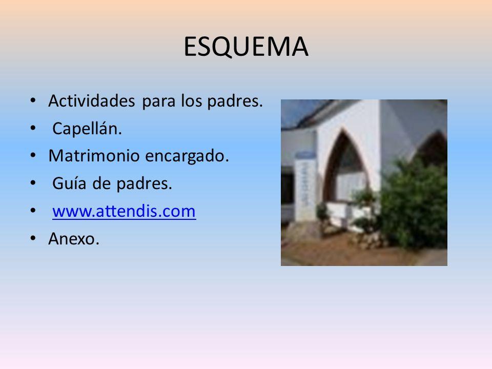 ESQUEMA Actividades para los padres. Capellán. Matrimonio encargado. Guía de padres. www.attendis.com Anexo.