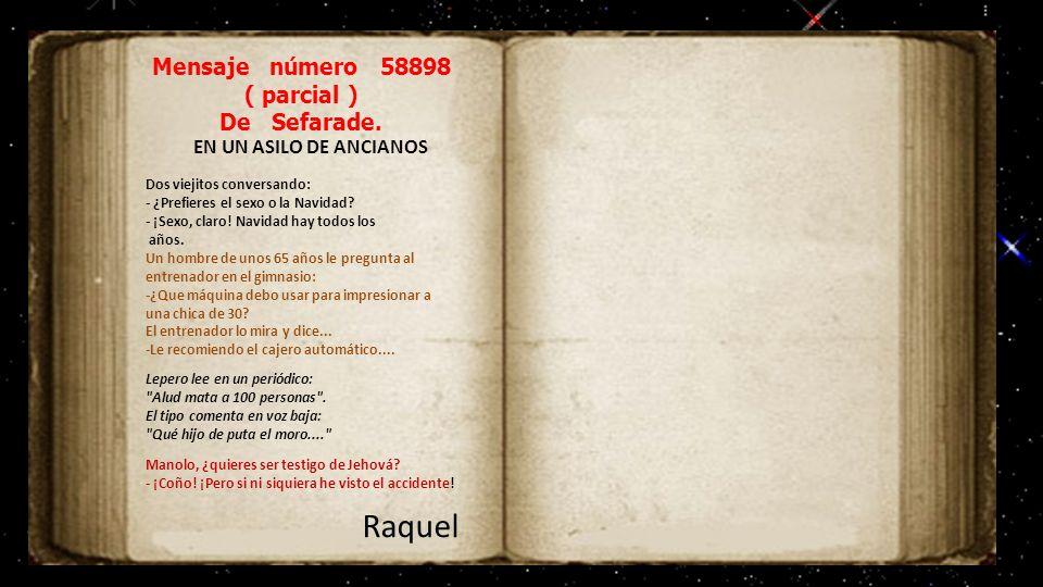 Mensaje número 9999 De Sefarade. PARA URIEL QUERIDO URIEL : LLEVO ASOMANDOME, TODO EL DIA, A MI BALCON, EN LA CALLE SIERPES, Y NO TE VEO. DONDE TE MET