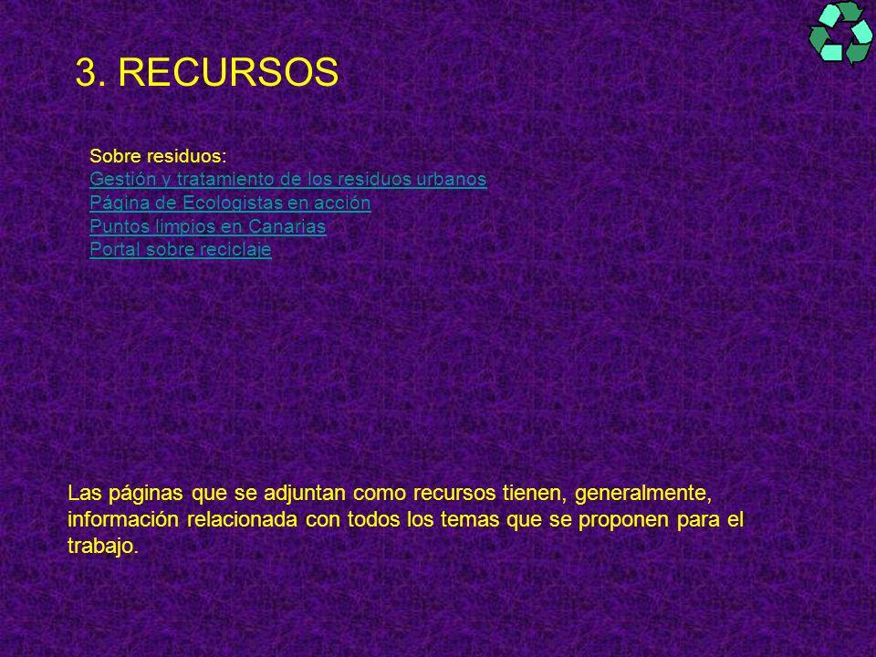 3. RECURSOS Sobre residuos: Gestión y tratamiento de los residuos urbanos Página de Ecologistas en acción Puntos limpios en Canarias Portal sobre reci