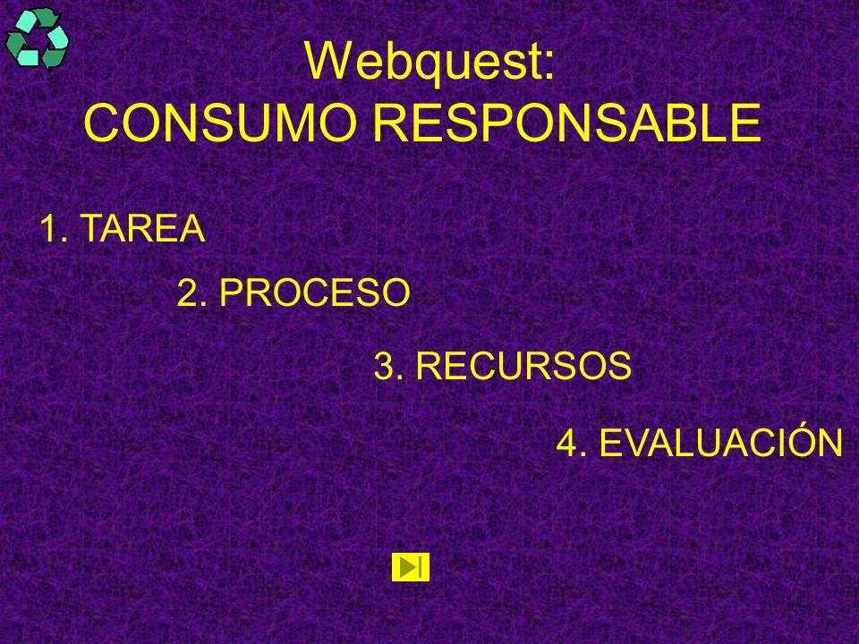 Webquest: CONSUMO RESPONSABLE 1. TAREA TAREA 2. PROCESO 3. RECURSOS 4. EVALUACIÓN
