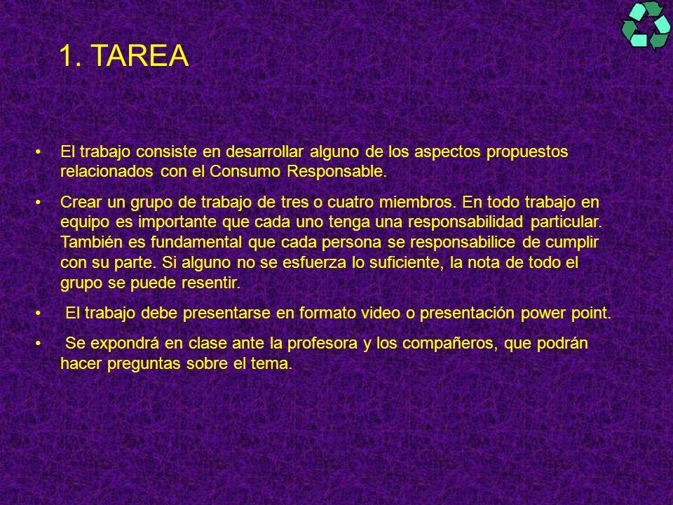 1. TAREA El trabajo consiste en desarrollar alguno de los aspectos propuestos relacionados con el Consumo Responsable. Crear un grupo de trabajo de tr