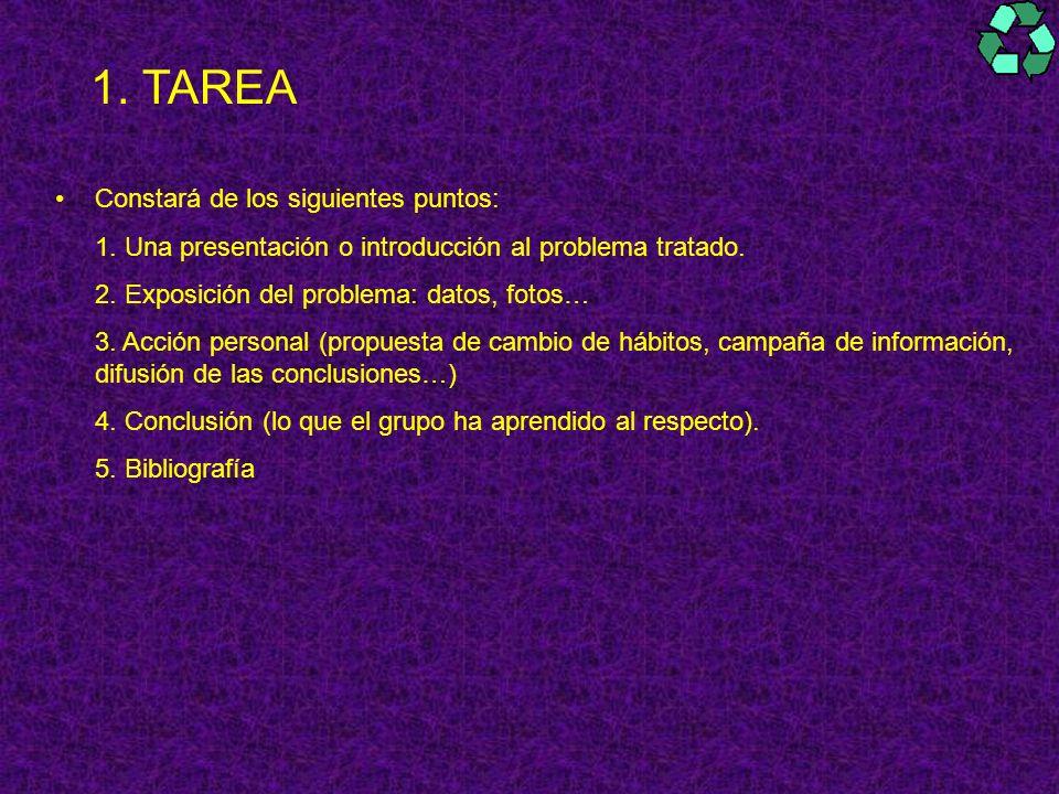 1. TAREA Constará de los siguientes puntos: 1. Una presentación o introducción al problema tratado. 2. Exposición del problema: datos, fotos… 3. Acció