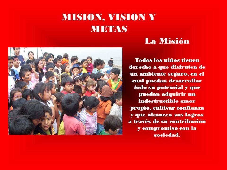 MISION, VISION Y METAS La Misión Todos los niños tienen derecho a que disfruten de un ambiente seguro, en el cual puedan desarrollar todo su potencial