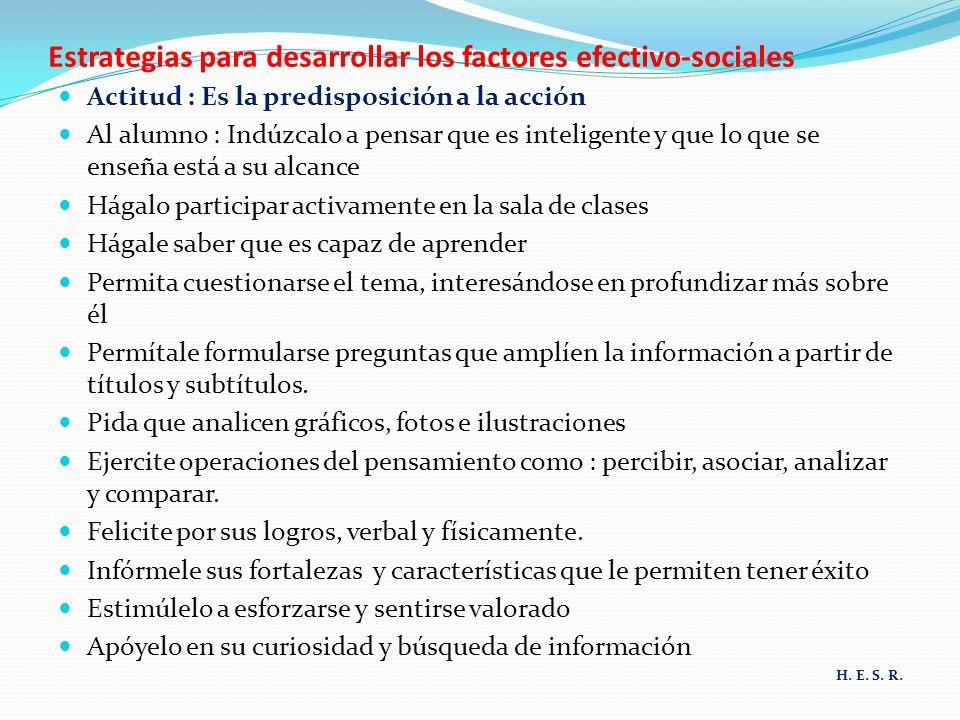 Estrategias para desarrollar los factores efectivo-sociales Actitud : Es la predisposición a la acción Al alumno : Indúzcalo a pensar que es inteligen