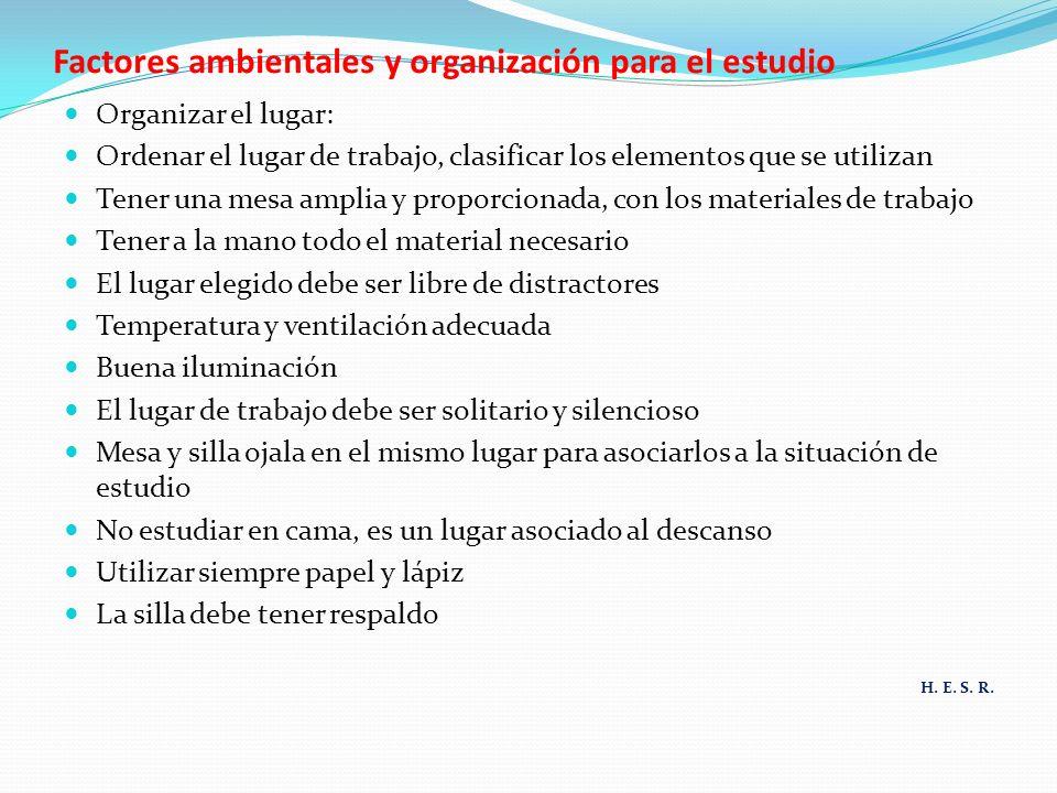 Factores ambientales y organización para el estudio Organizar el lugar: Ordenar el lugar de trabajo, clasificar los elementos que se utilizan Tener un