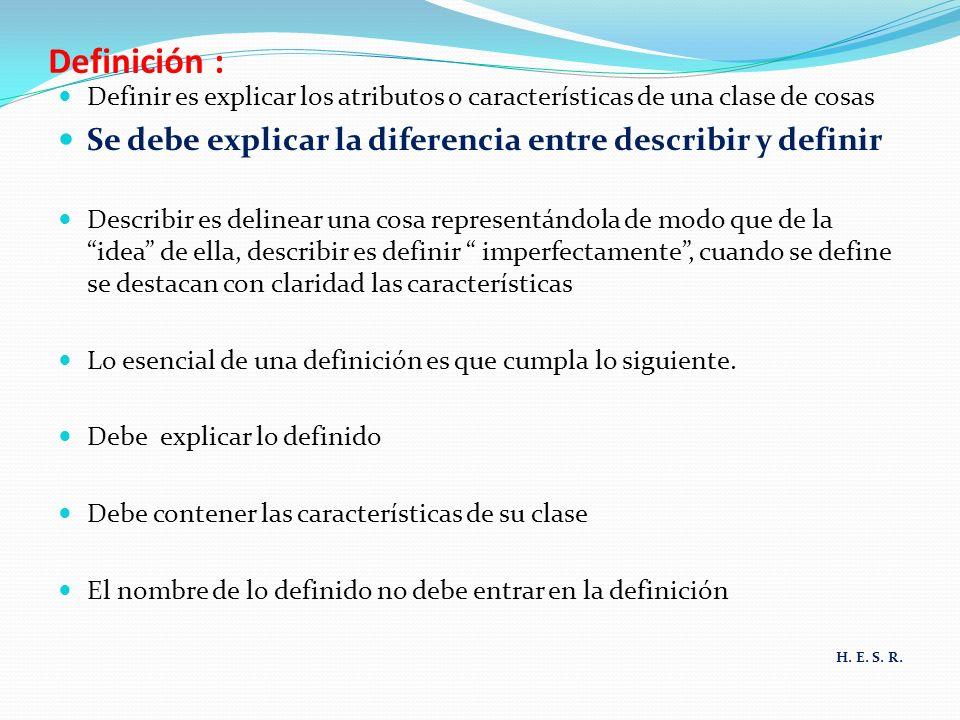 Definición : Definir es explicar los atributos o características de una clase de cosas Se debe explicar la diferencia entre describir y definir Descri