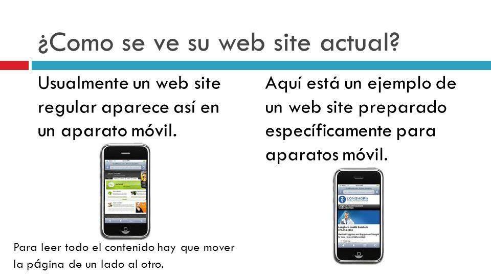 ¿Como se ve su web site actual. Usualmente un web site regular aparece así en un aparato móvil.