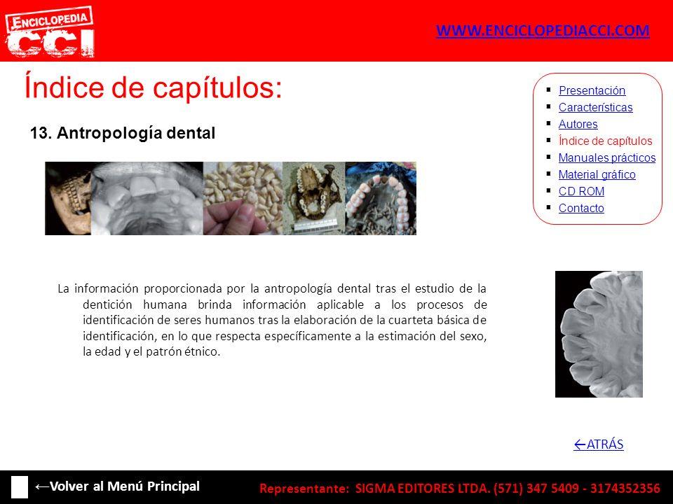 Índice de capítulos: Características Autores Índice de capítulos Manuales prácticos Material gráfico CD ROM Contacto Presentación 13. Antropología den