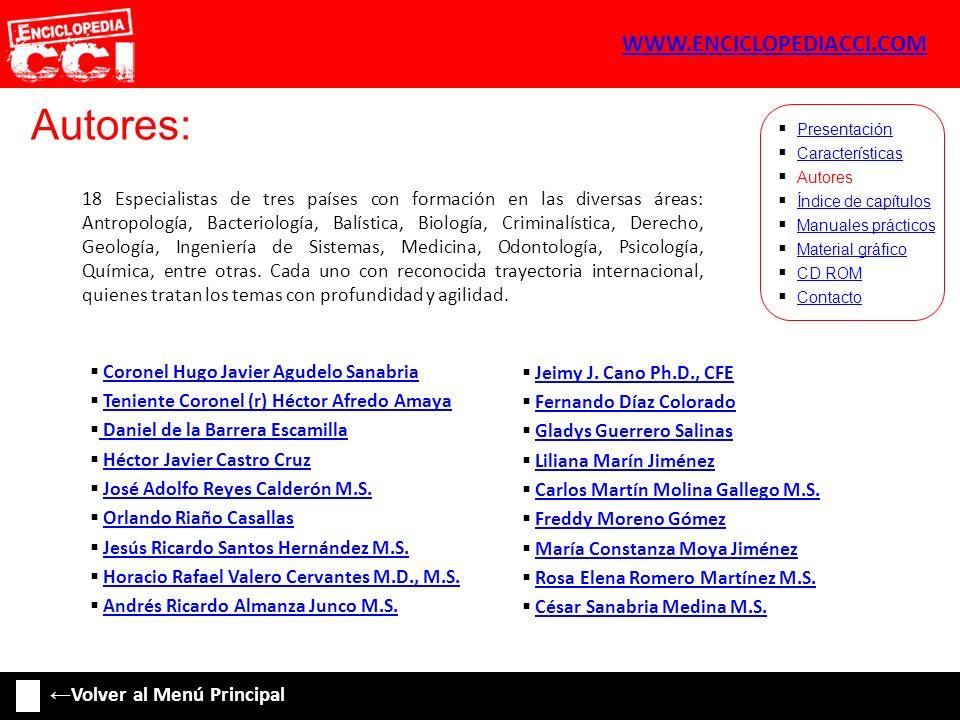 Índice de capítulos: Características Autores Índice de capítulos Manuales prácticos Material gráfico CD ROM Contacto Presentación 18.