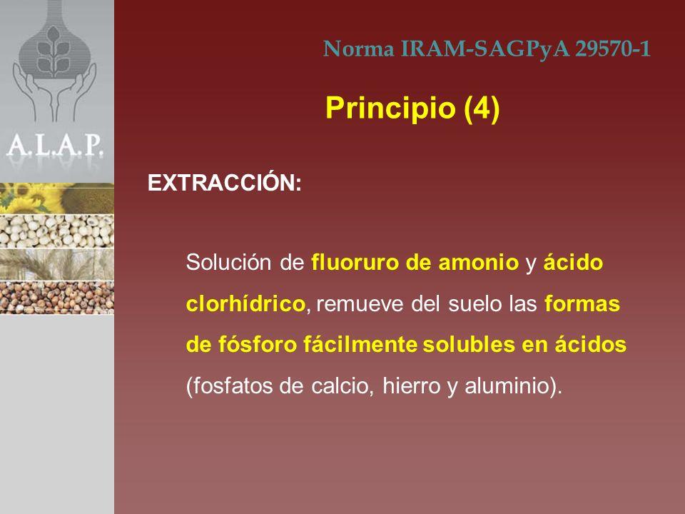 Solución de fluoruro de amonio y ácido clorhídrico, remueve del suelo las formas de fósforo fácilmente solubles en ácidos (fosfatos de calcio, hierro