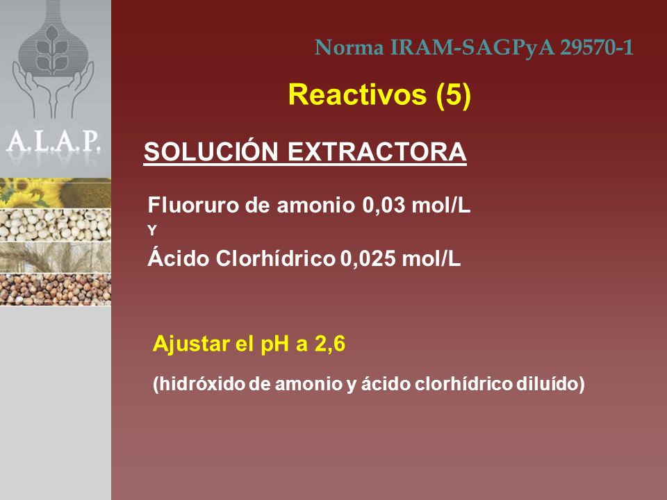 Fluoruro de amonio 0,03 mol/L Y Ácido Clorhídrico 0,025 mol/L Norma IRAM-SAGPyA 29570-1 Reactivos (5) SOLUCIÓN EXTRACTORA Ajustar el pH a 2,6 (hidróxi