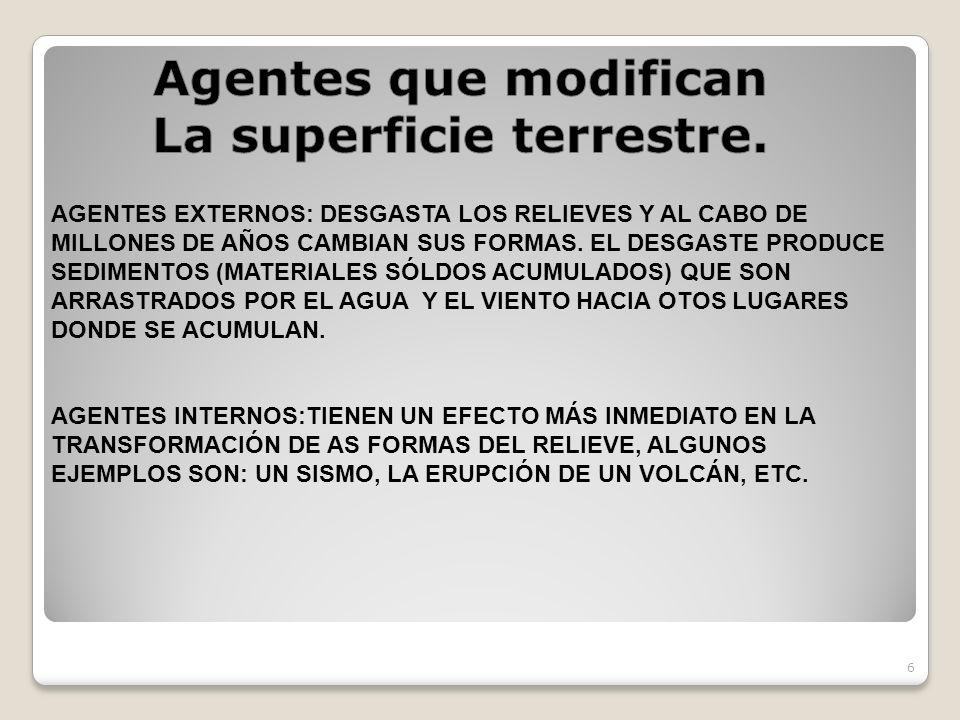 6 AGENTES EXTERNOS: DESGASTA LOS RELIEVES Y AL CABO DE MILLONES DE AÑOS CAMBIAN SUS FORMAS. EL DESGASTE PRODUCE SEDIMENTOS (MATERIALES SÓLDOS ACUMULAD