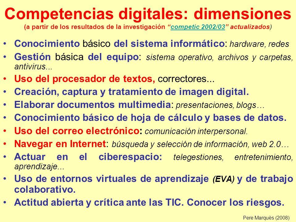 Competencias docentes Conocimiento de la materia que imparte, incluyendo el uso de las TIC en su campo de conocimiento, y un buen conocimiento de la cultura actual.