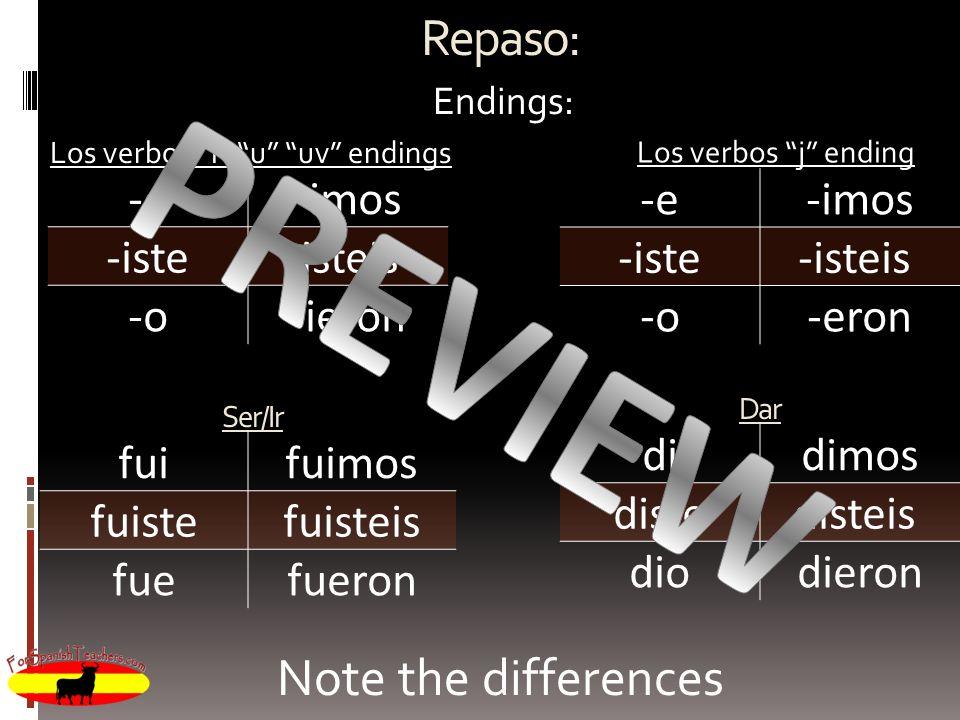Repaso: Endings: Los verbos i u uv endings -e-imos -iste-isteis -o-ieron Los verbos j ending -e-imos -iste-isteis -o-eron Ser/Ir fuifuimos fuistefuist