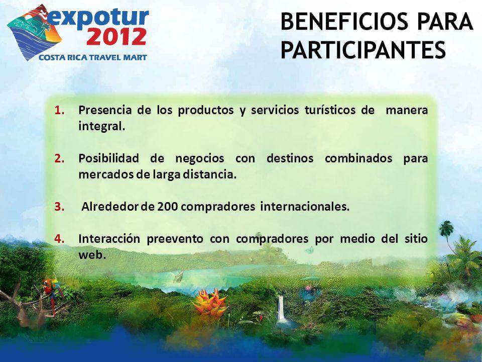 BENEFICIOS PARA PARTICIPANTES 1.Presencia de los productos y servicios turísticos de manera integral.