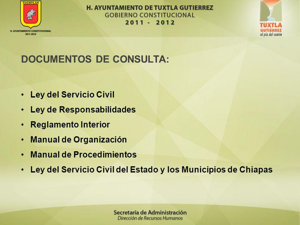 DOCUMENTOS DE CONSULTA: Ley del Servicio Civil Ley de Responsabilidades Reglamento Interior Manual de Organización Manual de Procedimientos Ley del Se