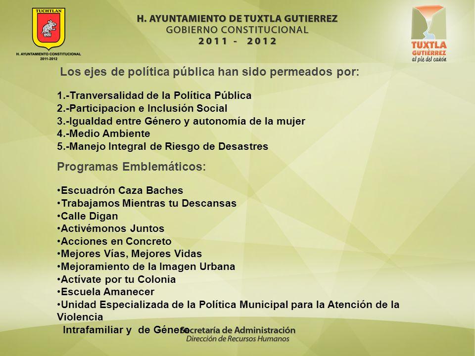 Los ejes de política pública han sido permeados por: 1.-Tranversalidad de la Política Pública 2.-Participacion e Inclusión Social 3.-Igualdad entre Gé