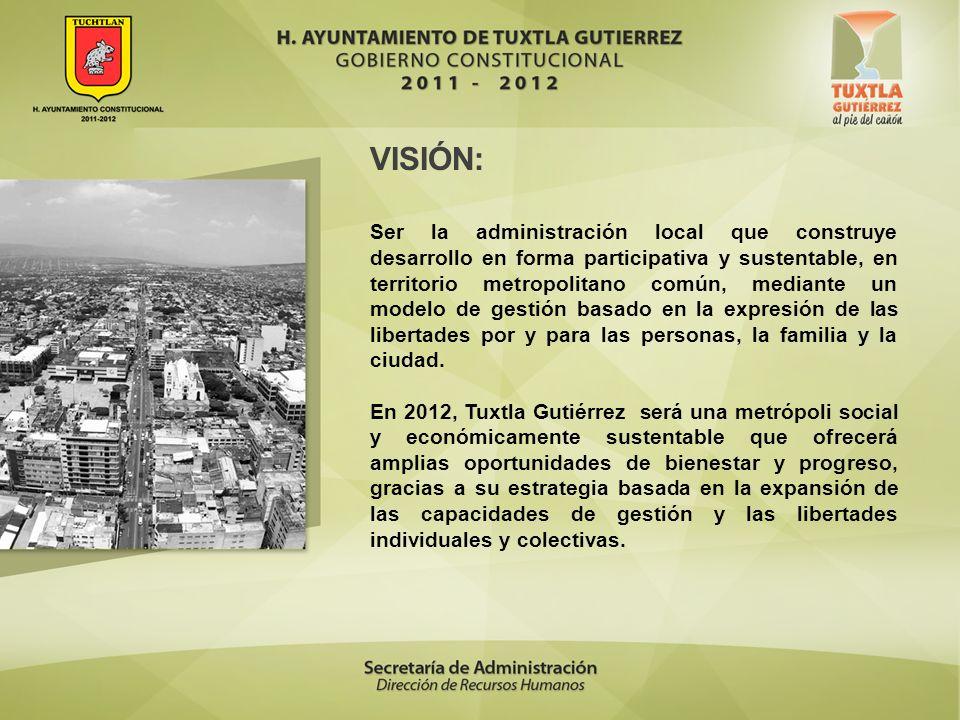 VISIÓN: Ser la administración local que construye desarrollo en forma participativa y sustentable, en territorio metropolitano común, mediante un mode