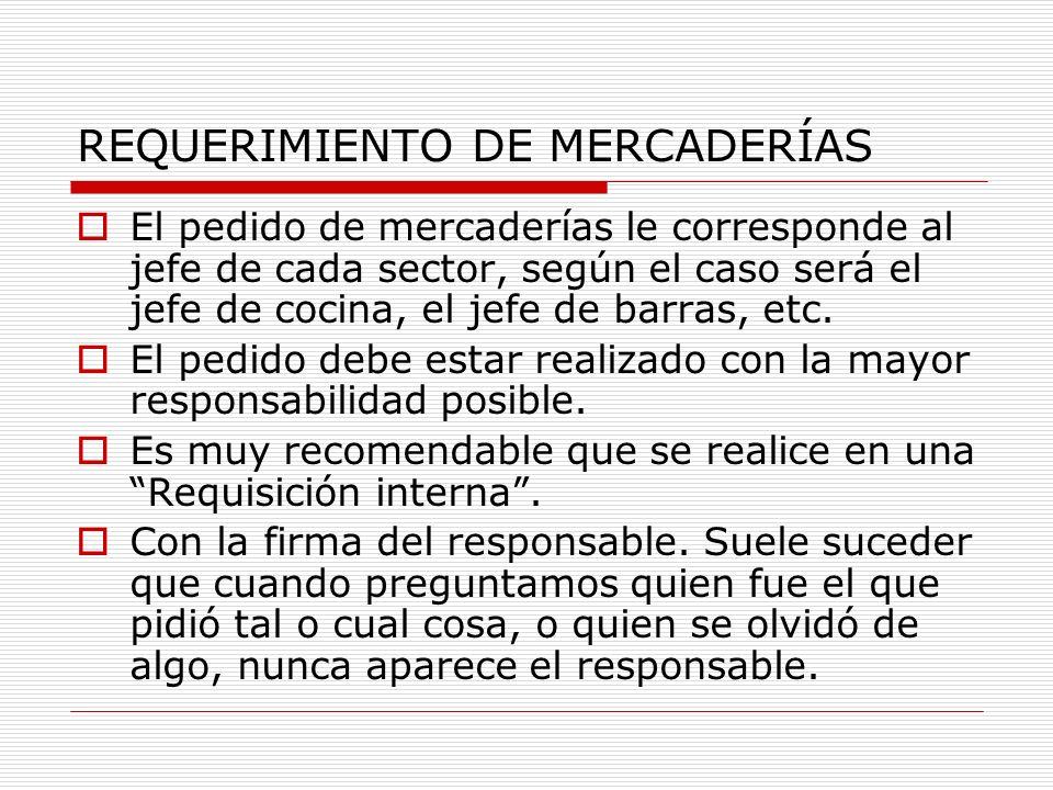 RECAUDOS AL ELABORAR EL PEDIDO AL ALMACEN Stock permanente: Mantener un inventario permanente, al menos del sector de elaboración.