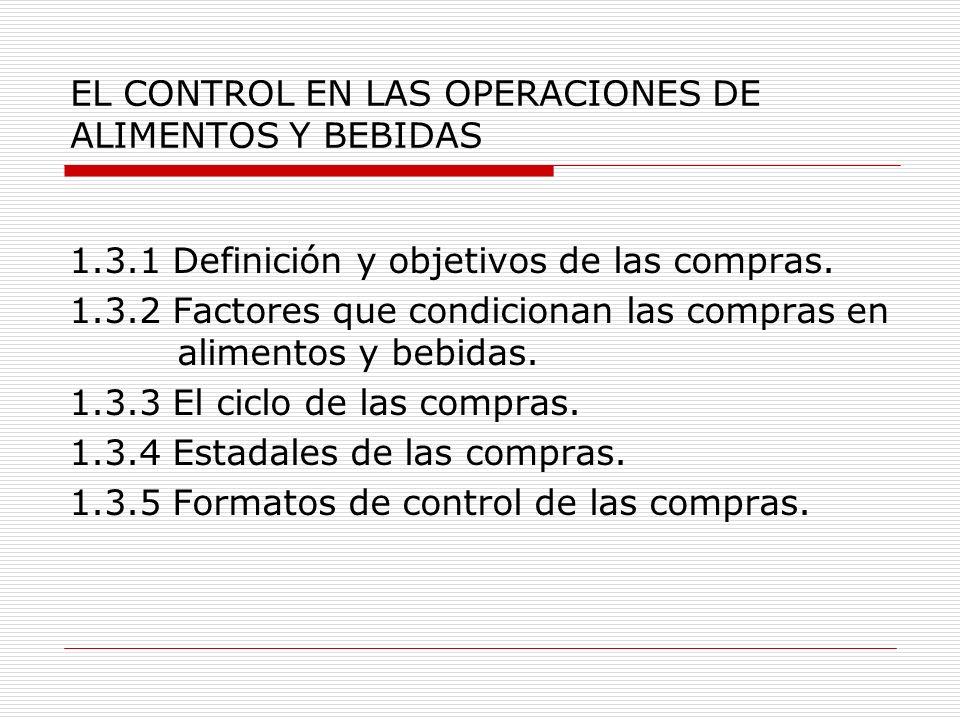 EL CONTROL EN LAS OPERACIONES DE ALIMENTOS Y BEBIDAS 1.3.1 Definición y objetivos de las compras. 1.3.2 Factores que condicionan las compras en alimen
