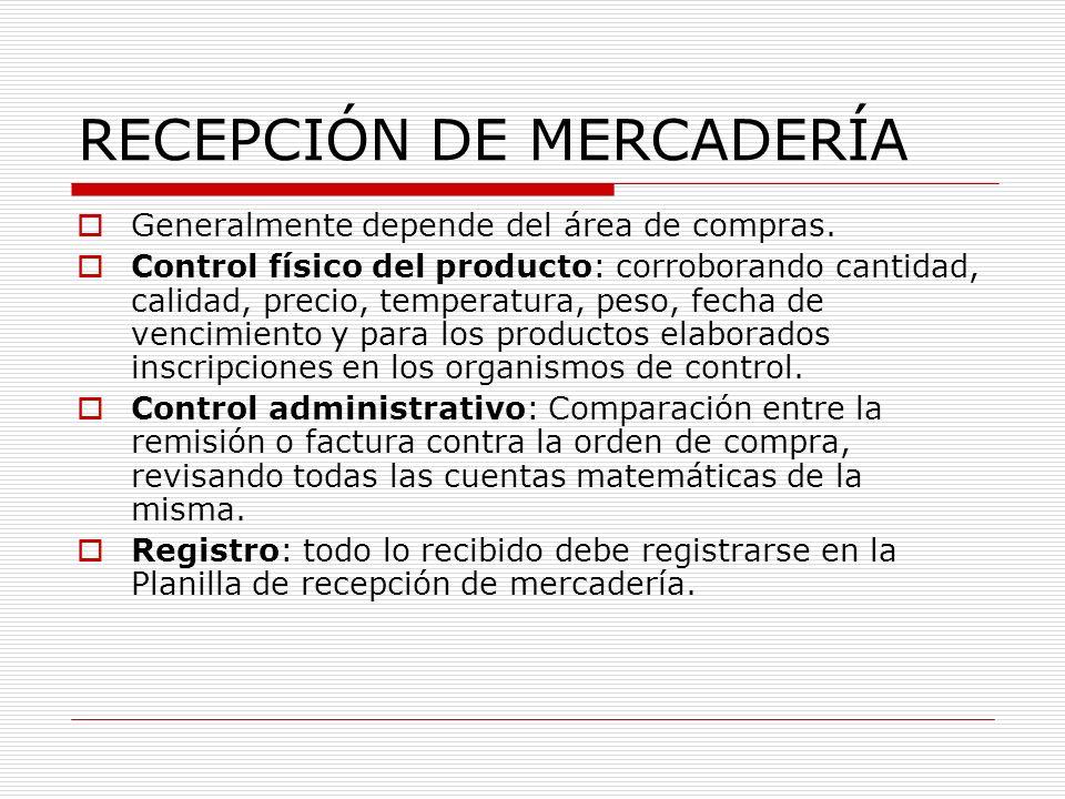 RECEPCIÓN DE MERCADERÍA Generalmente depende del área de compras. Control físico del producto: corroborando cantidad, calidad, precio, temperatura, pe