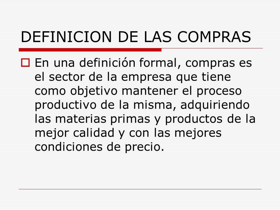 DEFINICION DE LAS COMPRAS En una definición formal, compras es el sector de la empresa que tiene como objetivo mantener el proceso productivo de la mi