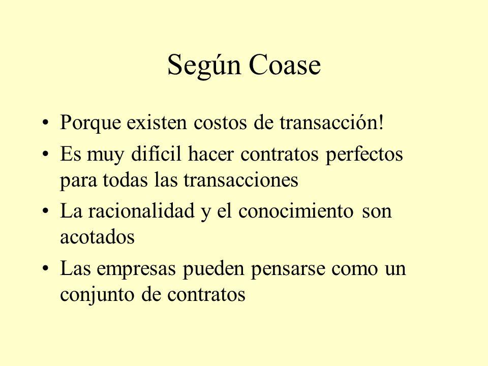 Según Coase Porque existen costos de transacción! Es muy difícil hacer contratos perfectos para todas las transacciones La racionalidad y el conocimie