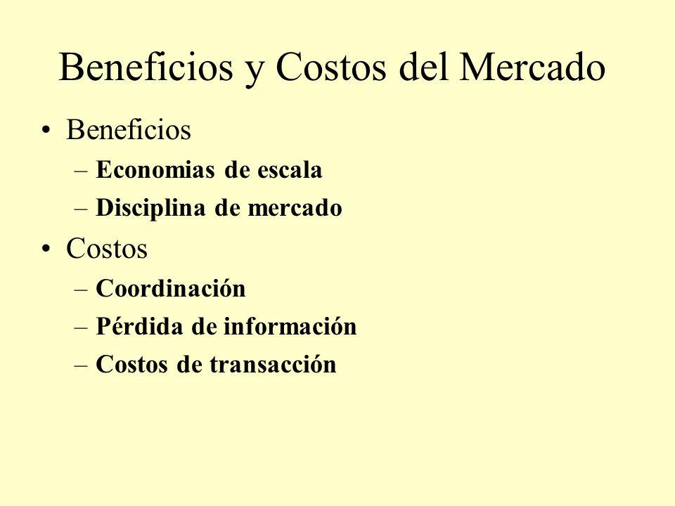 Beneficios y Costos del Mercado Beneficios –Economias de escala –Disciplina de mercado Costos –Coordinación –Pérdida de información –Costos de transac