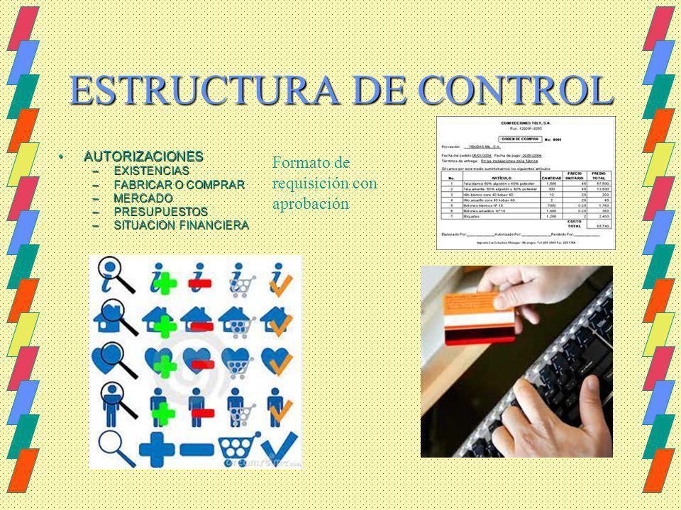 ESTRUCTURA DE CONTROL AUTORIZACIONESAUTORIZACIONES –EXISTENCIAS –FABRICAR O COMPRAR –MERCADO –PRESUPUESTOS –SITUACION FINANCIERA Formato de requisició
