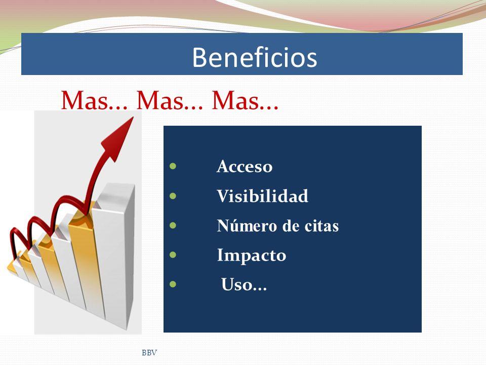 Beneficios Acceso Visibilidad Número de citas Impacto Uso... BBV Mas... Mas... Mas...