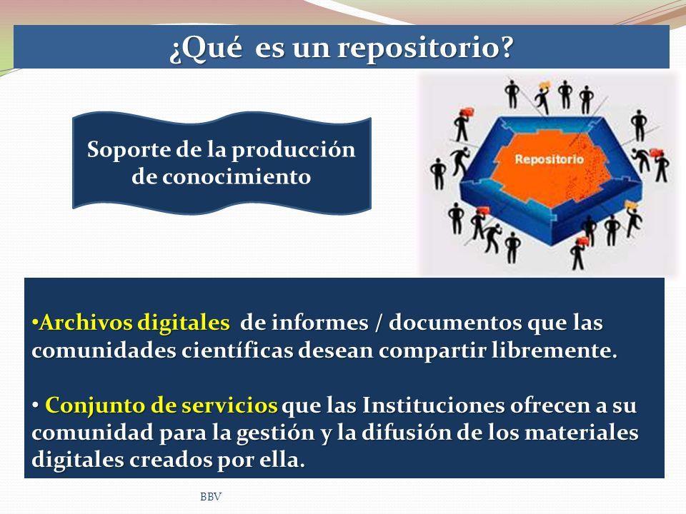 BBV ¿Qué es un repositorio? Archivos digitales de informes / documentos que las comunidades científicas desean compartir libremente. Archivos digitale
