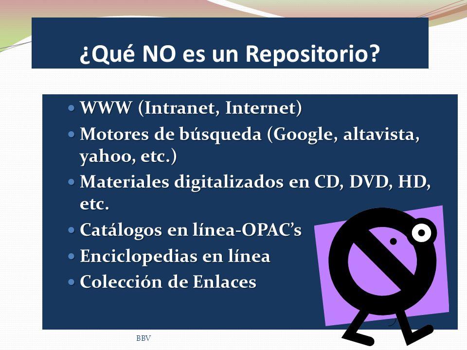 ¿Qué NO es un Repositorio? WWW (Intranet, Internet) WWW (Intranet, Internet) Motores de búsqueda (Google, altavista, yahoo, etc.) Motores de búsqueda