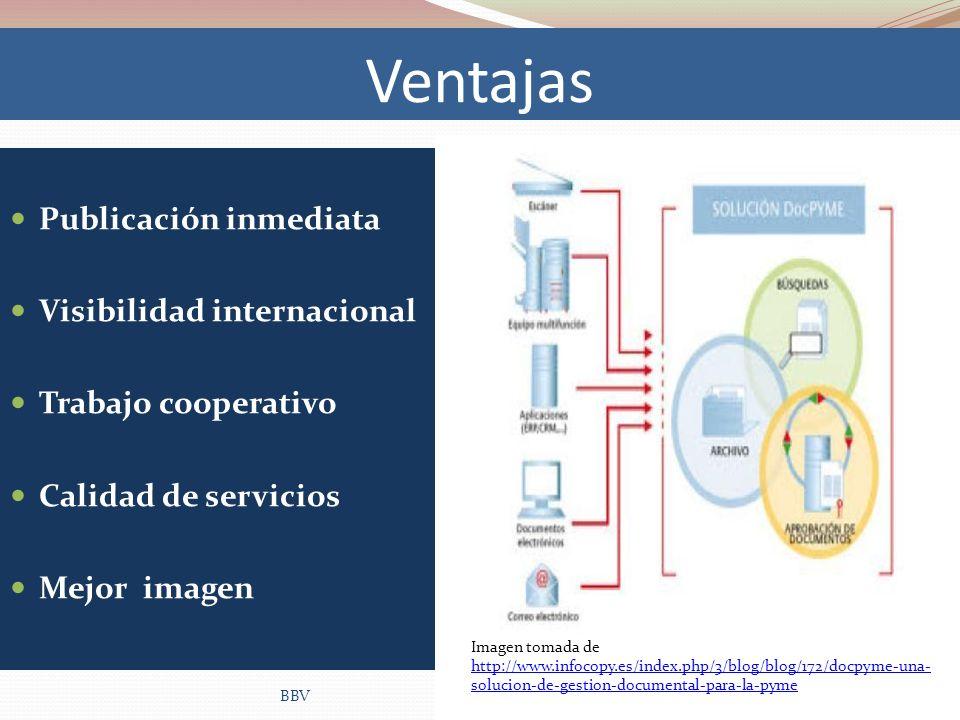 Ventajas Publicación inmediata Visibilidad internacional Trabajo cooperativo Calidad de servicios Mejor imagen BBV Imagen tomada de http://www.infocop