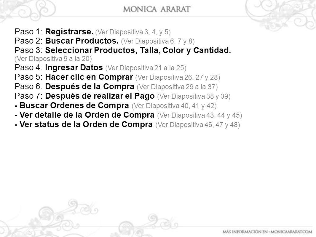 Paso 1: Registrarse. (Ver Diapositiva 3, 4, y 5) Paso 2: Buscar Productos. (Ver Diapositiva 6, 7 y 8) Paso 3: Seleccionar Productos, Talla, Color y Ca