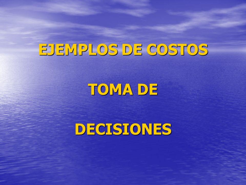 EJEMPLOS DE COSTOS TOMA DE DECISIONES