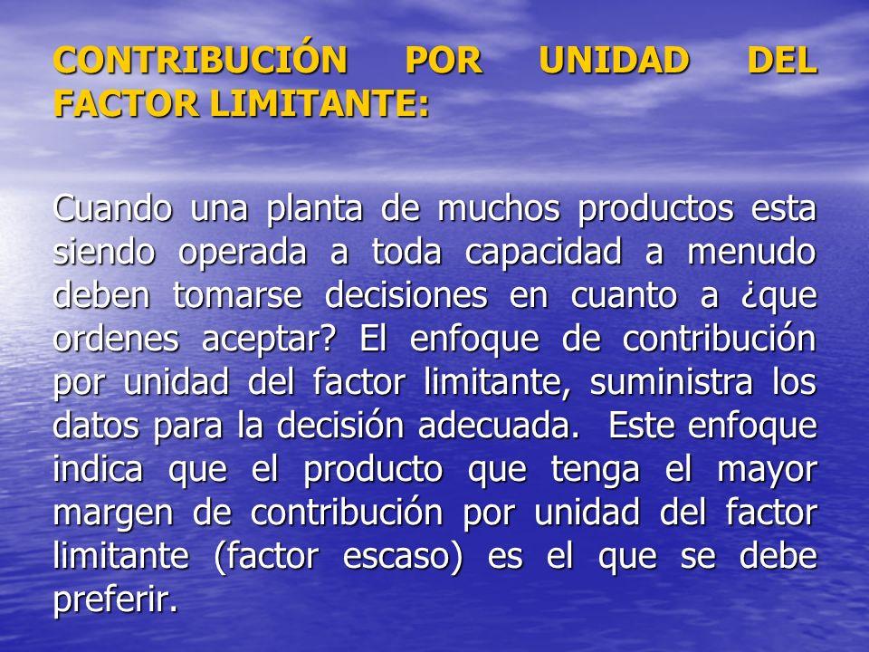 CONTRIBUCIÓN POR UNIDAD DEL FACTOR LIMITANTE: Cuando una planta de muchos productos esta siendo operada a toda capacidad a menudo deben tomarse decisi