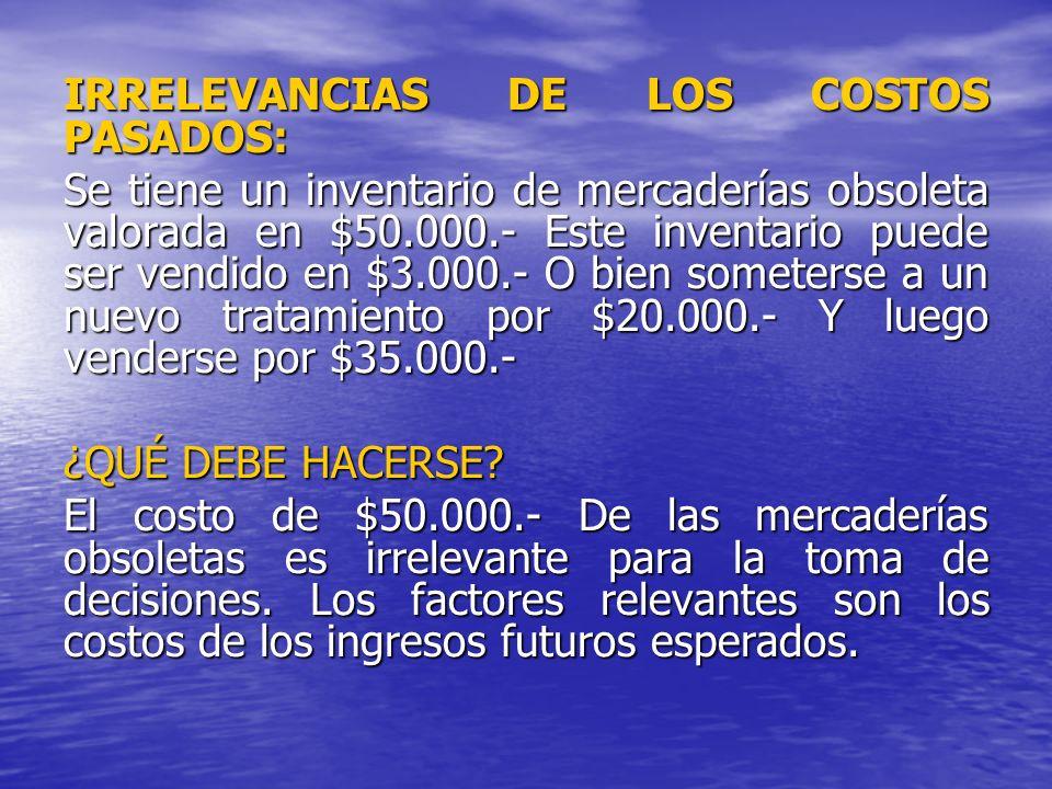 IRRELEVANCIAS DE LOS COSTOS PASADOS: Se tiene un inventario de mercaderías obsoleta valorada en $50.000.- Este inventario puede ser vendido en $3.000.