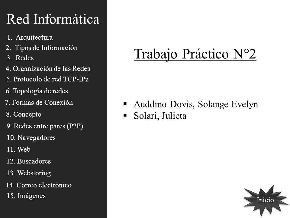 Red Informática 1. Arquitectura 2. Tipos de Información 3. Redes 4. Organización de las Redes 5. Protocolo de red TCP-IPz 6. Topología de redes 7. For