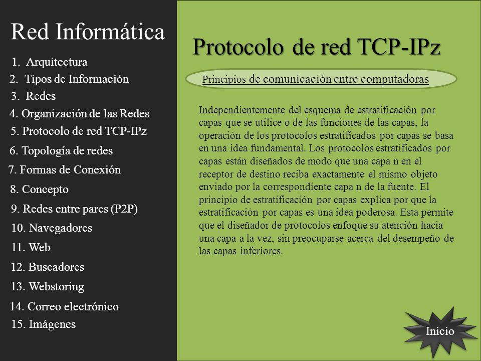 Inicio Protocolo de red TCP-IPz Independientemente del esquema de estratificación por capas que se utilice o de las funciones de las capas, la operaci