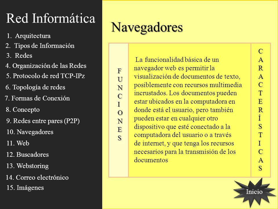 Navegadores Inicio FUNCIONES FUNCIONES FUNCIONES FUNCIONES CCAARRAACCTTEERRÍÍSSTTIICCAASSCCAARRAACCTTEERRÍÍSSTTIICCAASS La funcionalidad básica de un