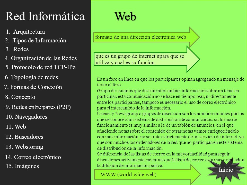 Inicio Web formato de una dirección electrónica web que es un grupo de internet upara que se utiliza y cuál es su función Es un foro en línea en que l