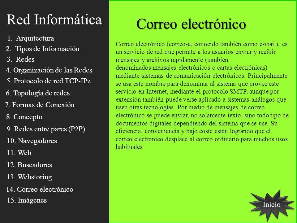 Inicio Correo electrónico Correo electrónico (correo-e, conocido también como e-mail), es un servicio de red que permite a los usuarios enviar y recib