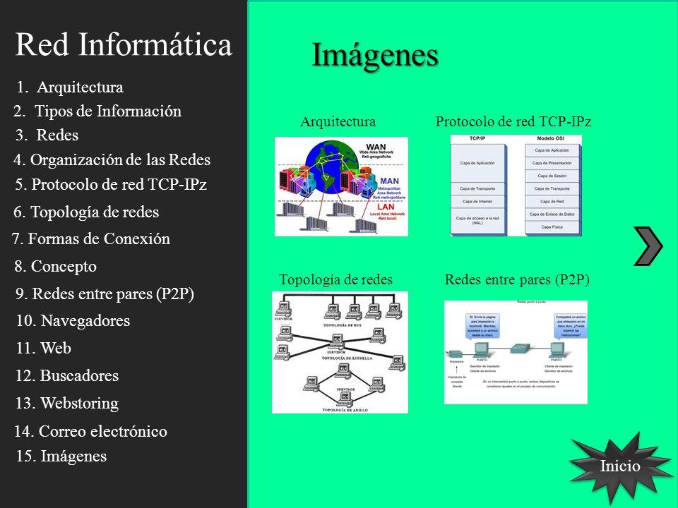 Inicio Imágenes Red Informática Arquitectura Protocolo de red TCP-IPz Topología de redesRedes entre pares (P2P) 1. Arquitectura 2. Tipos de Informació
