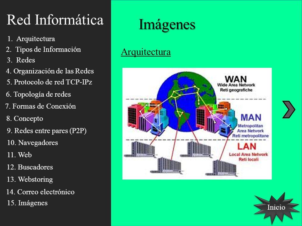 Red Informática Inicio Arquitectura Imágenes 1. Arquitectura 2. Tipos de Información 3. Redes 4. Organización de las Redes 5. Protocolo de red TCP-IPz