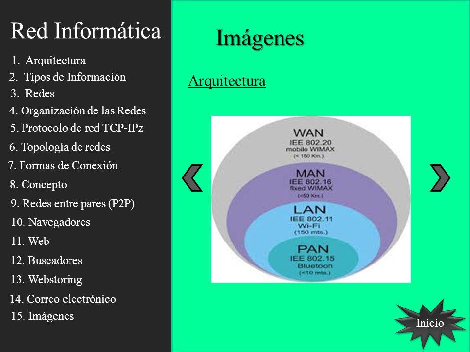 Red Informática Imágenes Inicio Arquitectura 1. Arquitectura 2. Tipos de Información 3. Redes 4. Organización de las Redes 5. Protocolo de red TCP-IPz