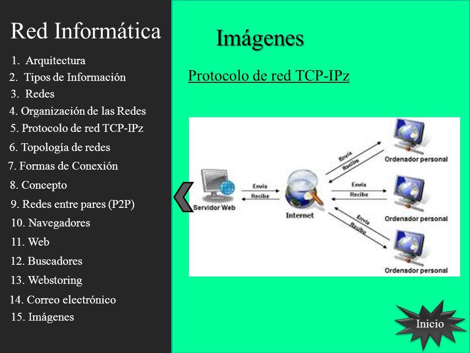 Red Informática Imágenes Inicio Protocolo de red TCP-IPz 1. Arquitectura 2. Tipos de Información 3. Redes 4. Organización de las Redes 5. Protocolo de